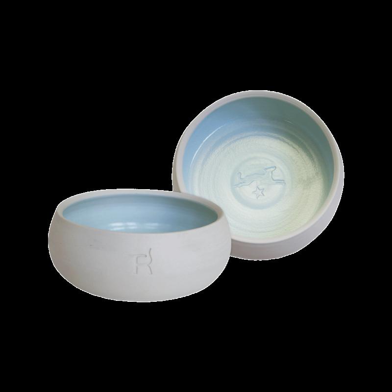 Ceramic dog bowl – natural colour / light blue