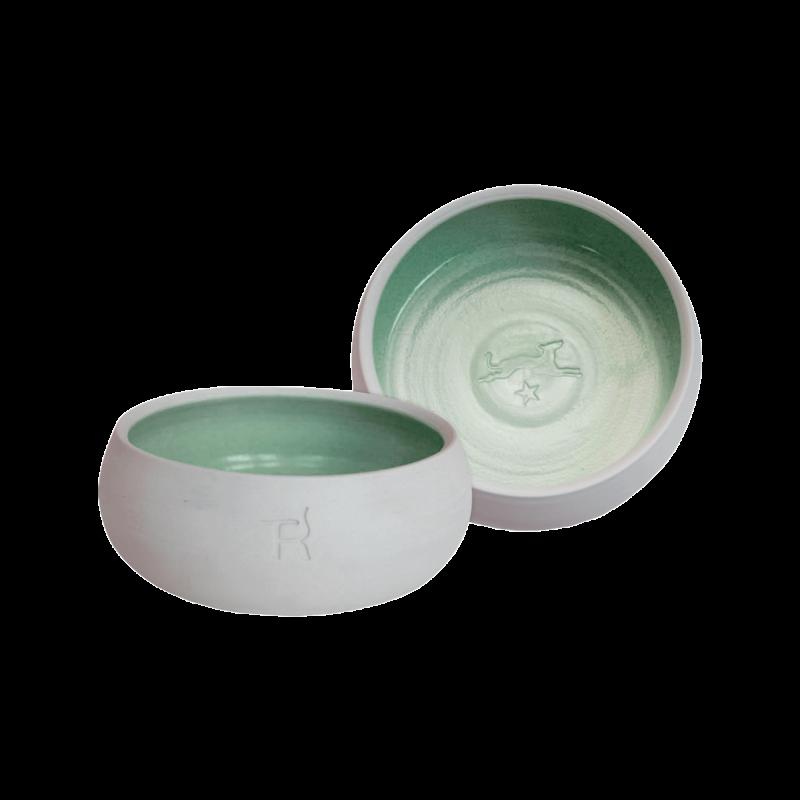 Écuelle en céramique – couleur naturelle / vert foncé
