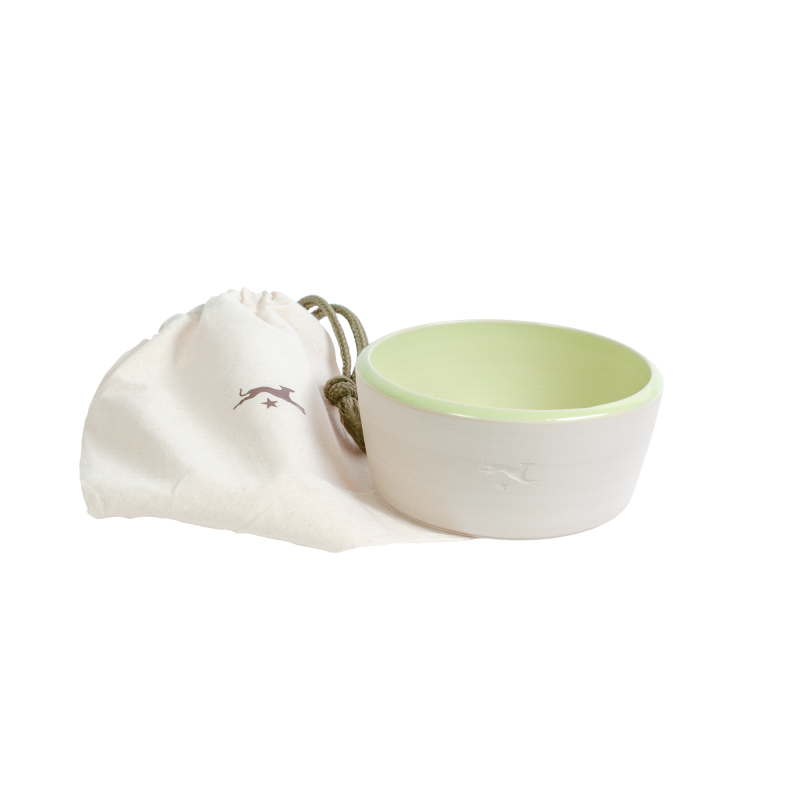 Ceramic dog bowl – natural colour / light green