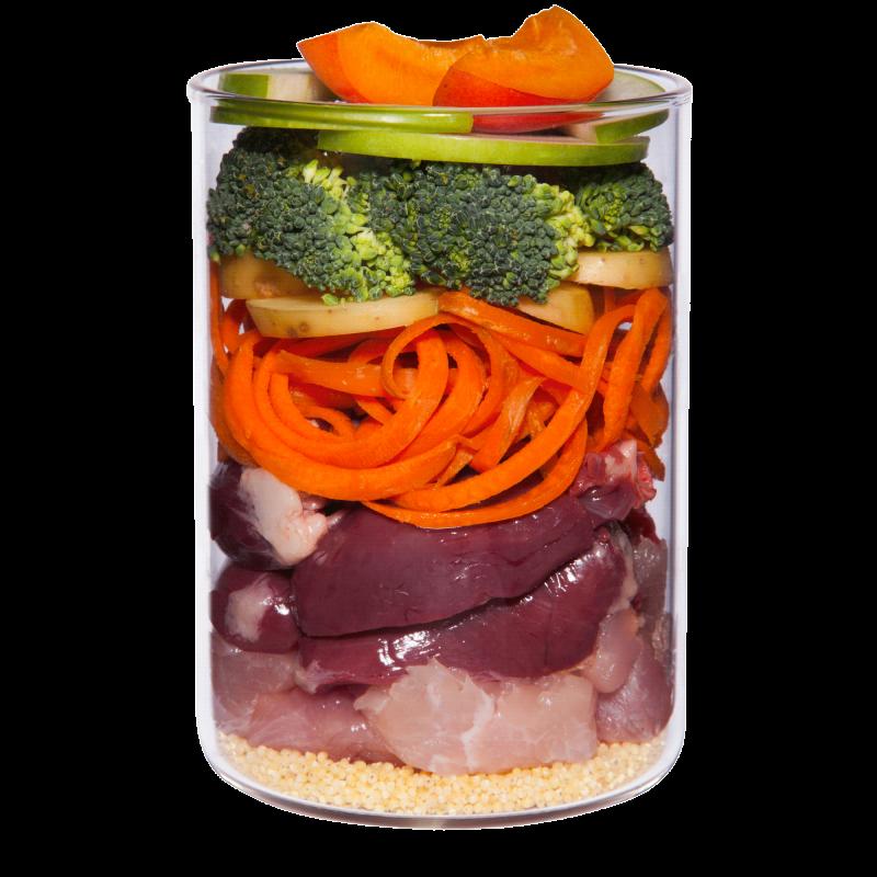 Pute mit Brokkoli, Birne und Kartoffel