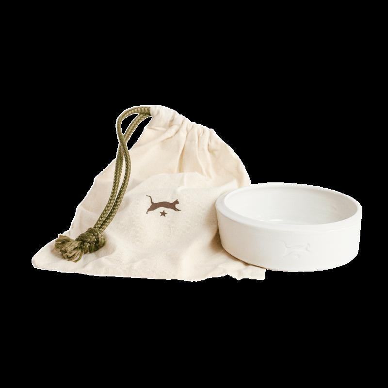 Ceramic cat bowl - white